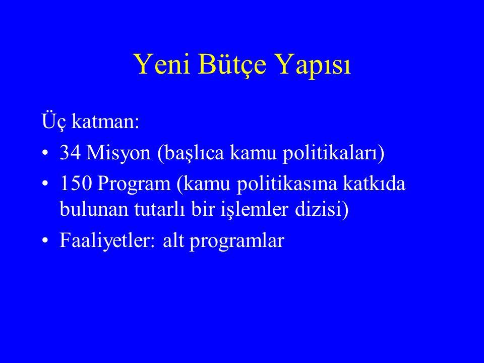 Yeni Bütçe Yapısı Üç katman: 34 Misyon (başlıca kamu politikaları)