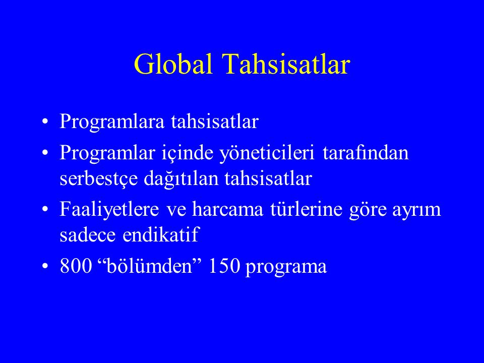 Global Tahsisatlar Programlara tahsisatlar