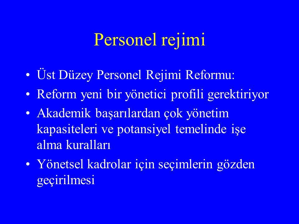 Personel rejimi Üst Düzey Personel Rejimi Reformu: