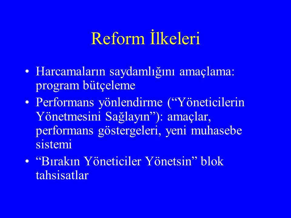 Reform İlkeleri Harcamaların saydamlığını amaçlama: program bütçeleme