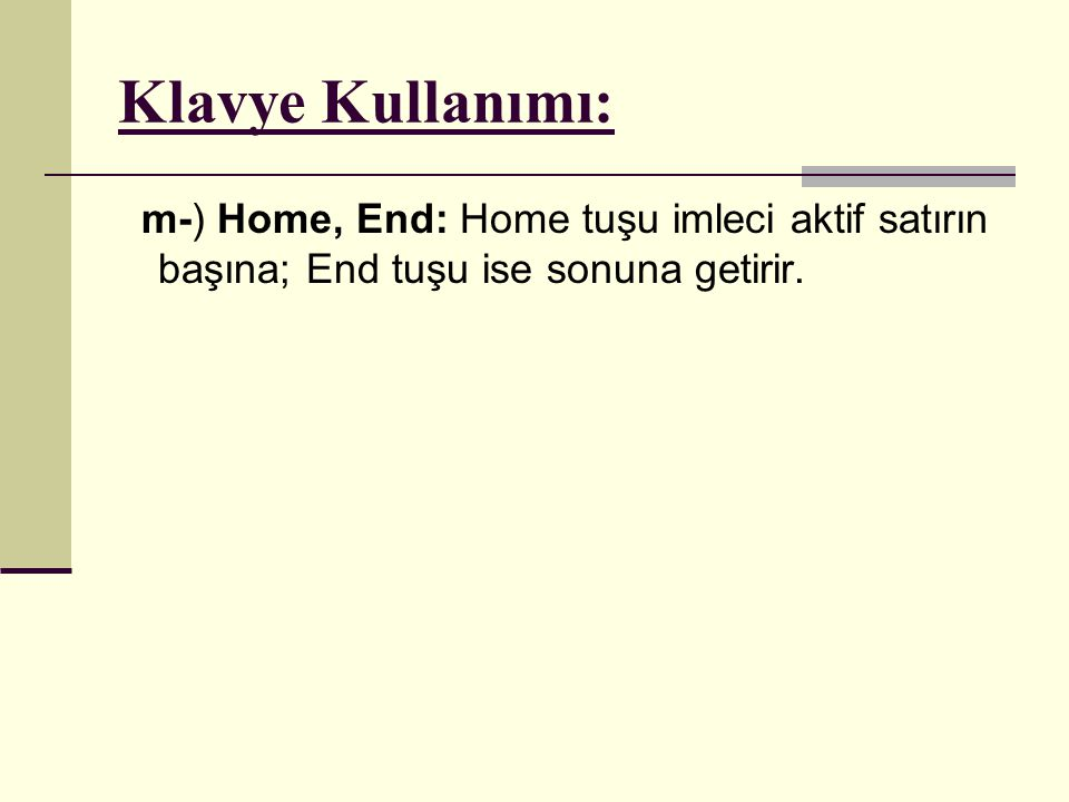 Klavye Kullanımı: m-) Home, End: Home tuşu imleci aktif satırın başına; End tuşu ise sonuna getirir.