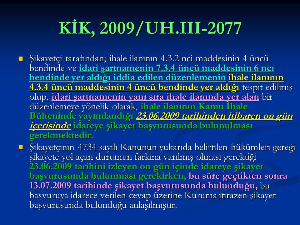 KİK, 2009/UH.III-2077