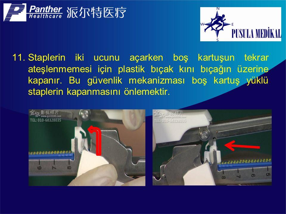 Staplerin iki ucunu açarken boş kartuşun tekrar ateşlenmemesi için plastik bıçak kını bıçağın üzerine kapanır.