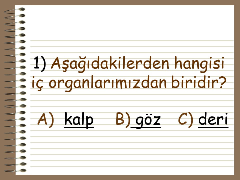 1) Aşağıdakilerden hangisi iç organlarımızdan biridir