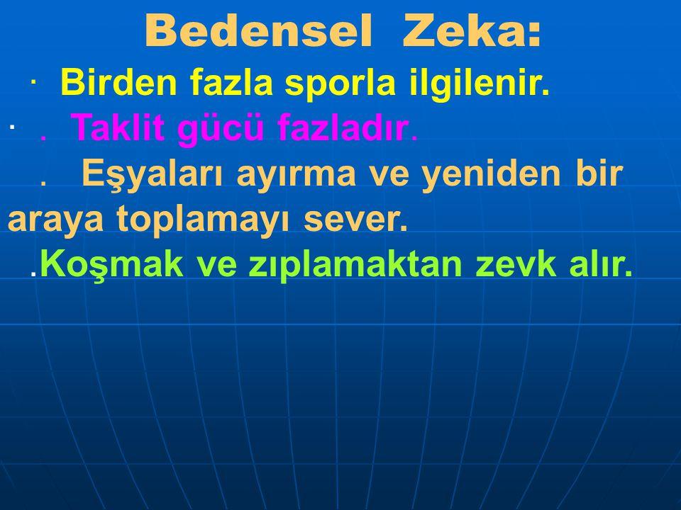 Bedensel Zeka: · Birden fazla sporla ilgilenir.