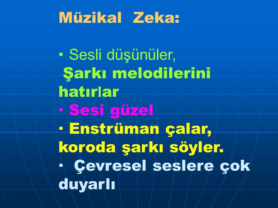 Müzikal Zeka: · Sesli düşünüler, Şarkı melodilerini hatırlar. · Sesi güzel. · Enstrüman çalar, koroda şarkı söyler.