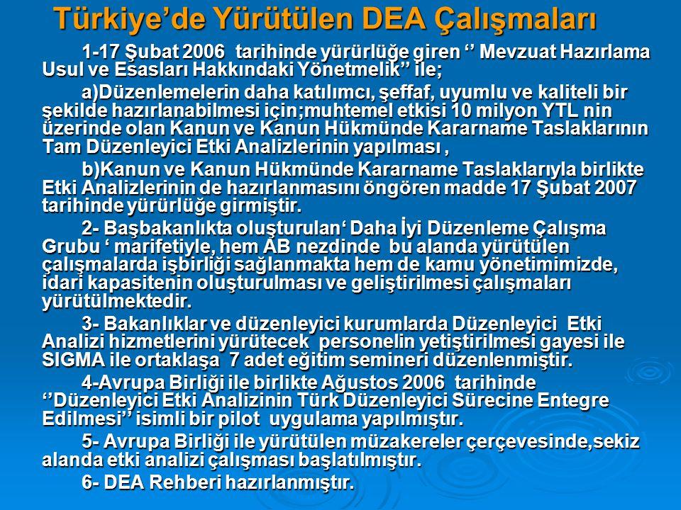 Türkiye'de Yürütülen DEA Çalışmaları