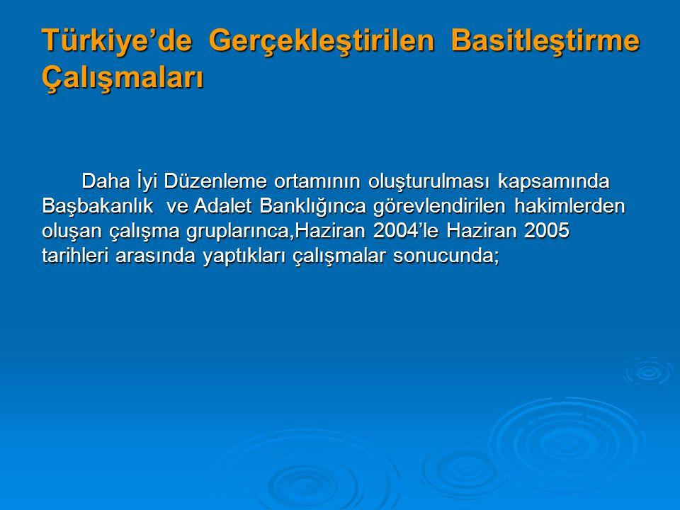 Türkiye'de Gerçekleştirilen Basitleştirme Çalışmaları