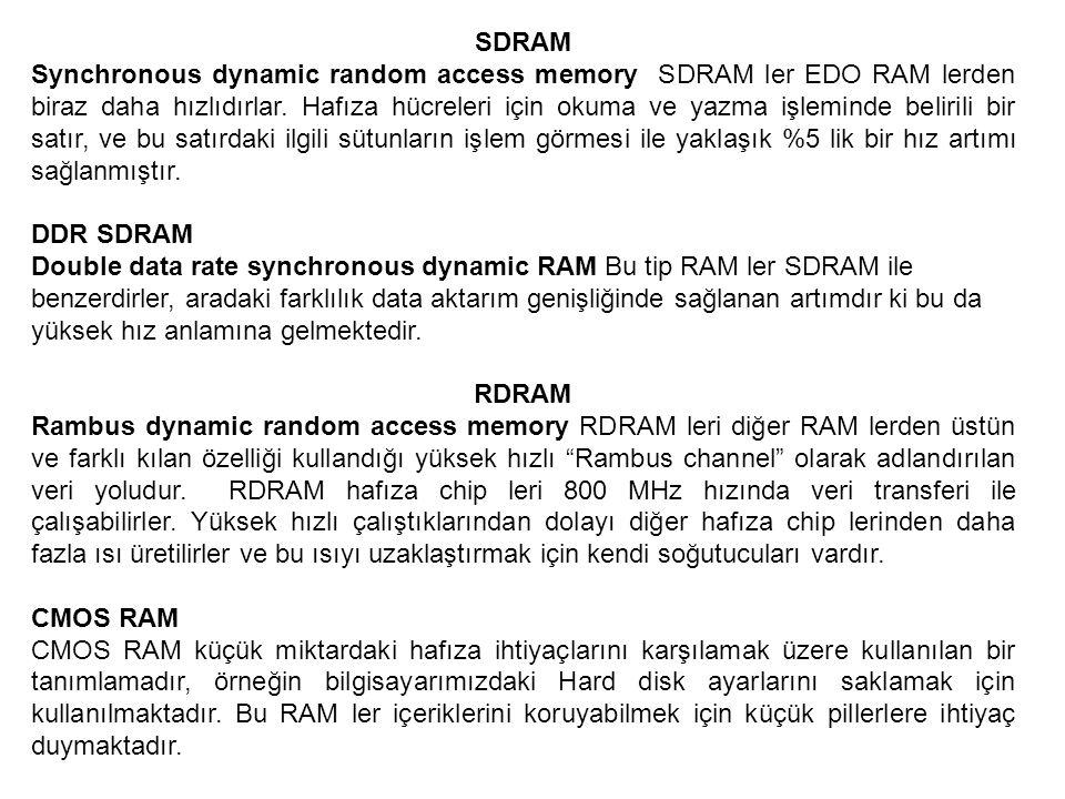 SDRAM Synchronous dynamic random access memory SDRAM ler EDO RAM lerden biraz daha hızlıdırlar. Hafıza hücreleri için okuma ve yazma işleminde belirili bir satır, ve bu satırdaki ilgili sütunların işlem görmesi ile yaklaşık %5 lik bir hız artımı sağlanmıştır.