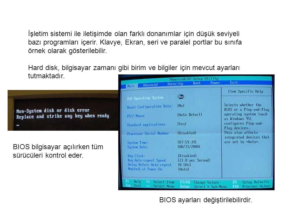 BIOS ayarları değiştirilebilirdir.