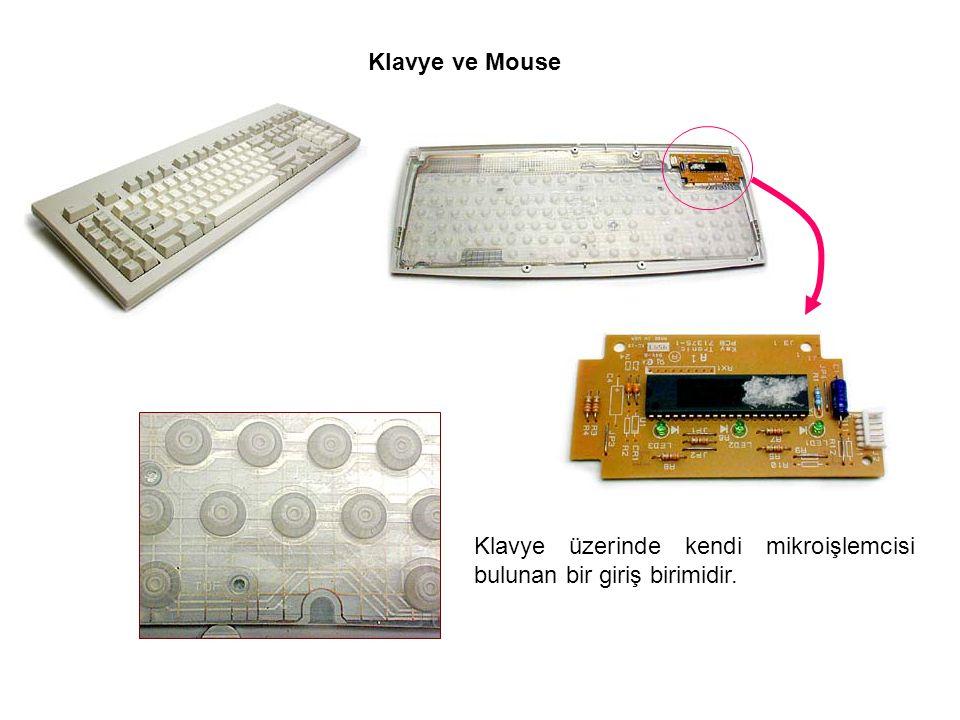 Klavye ve Mouse Klavye üzerinde kendi mikroişlemcisi bulunan bir giriş birimidir.