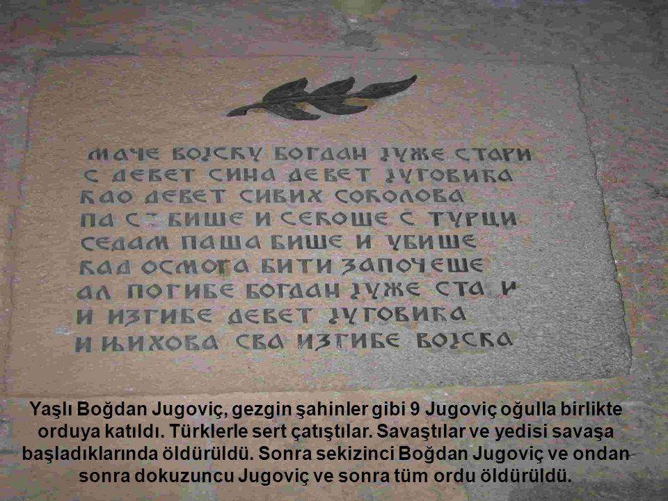 Yaşlı Boğdan Jugoviç, gezgin şahinler gibi 9 Jugoviç oğulla birlikte orduya katıldı.