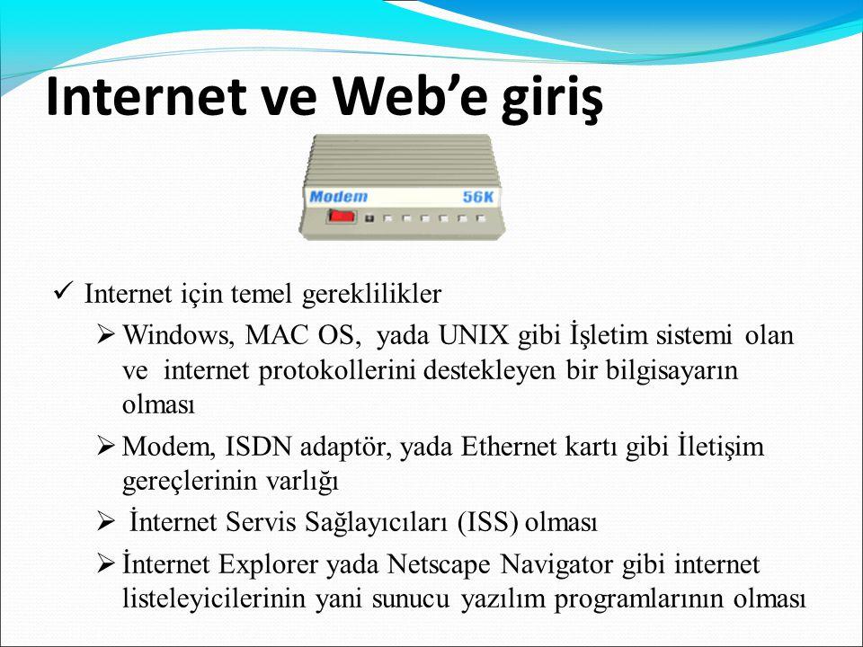 Internet ve Web'e giriş