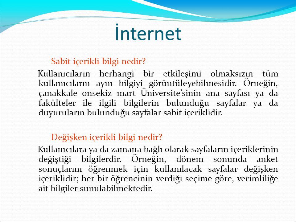 İnternet Sabit içerikli bilgi nedir