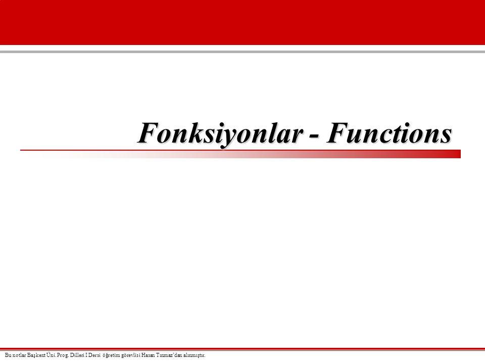 Fonksiyonlar - Functions