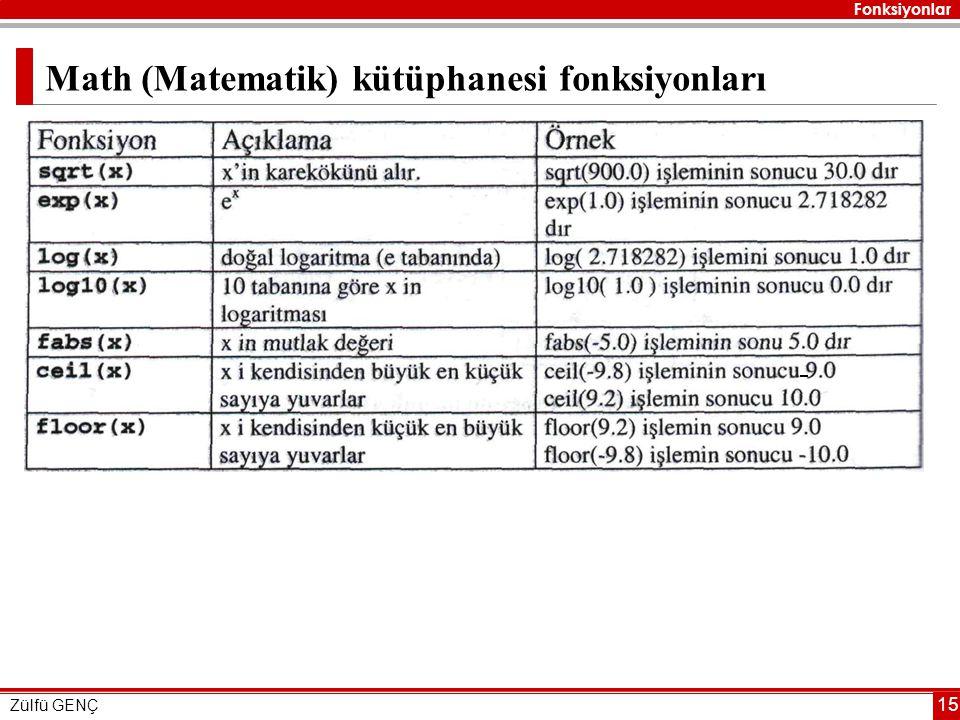 Math (Matematik) kütüphanesi fonksiyonları