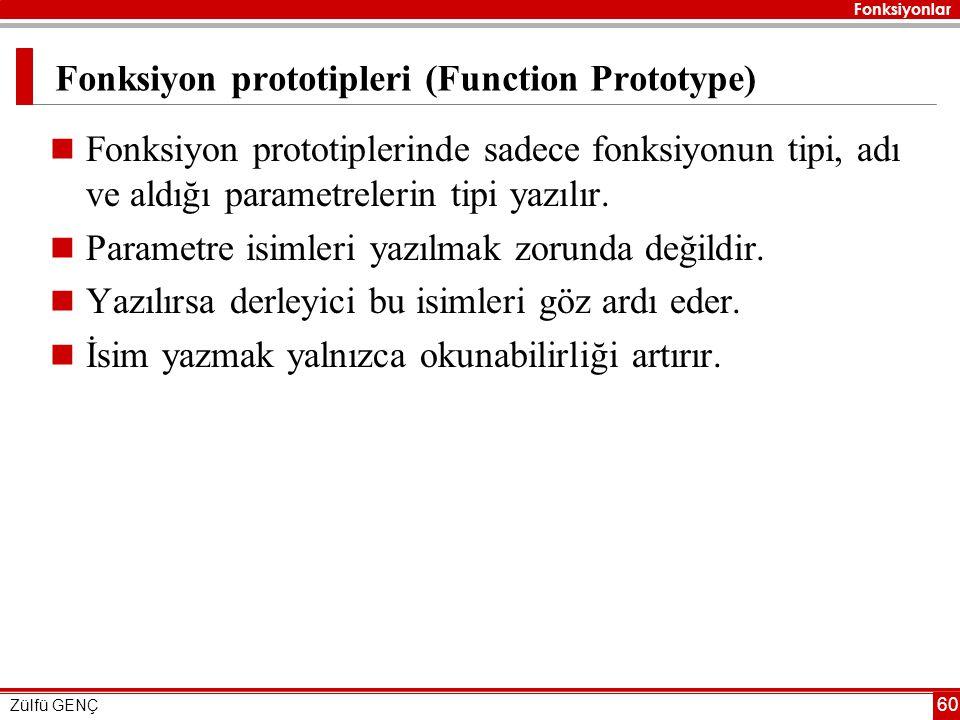 Fonksiyon prototipleri (Function Prototype)