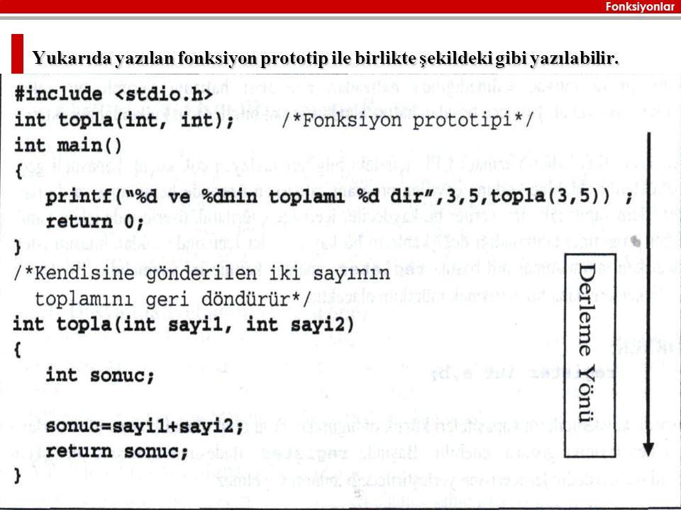Yukarıda yazılan fonksiyon prototip ile birlikte şekildeki gibi yazılabilir.