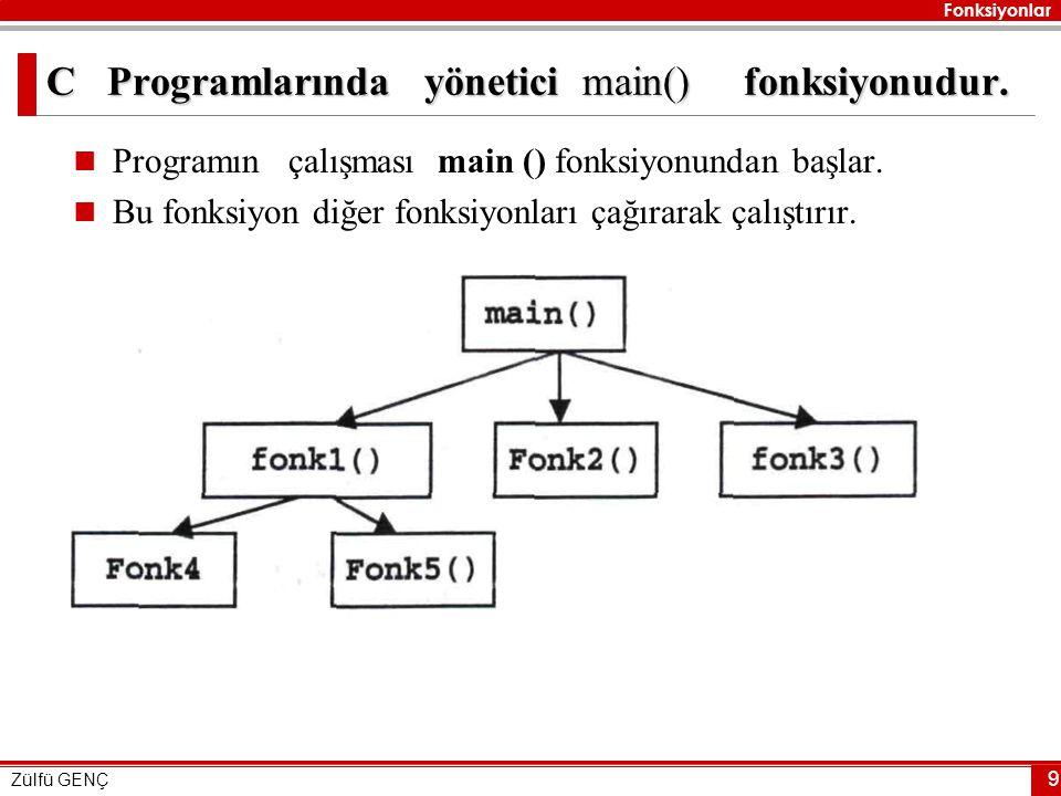 C Programlarında yönetici main() fonksiyonudur.