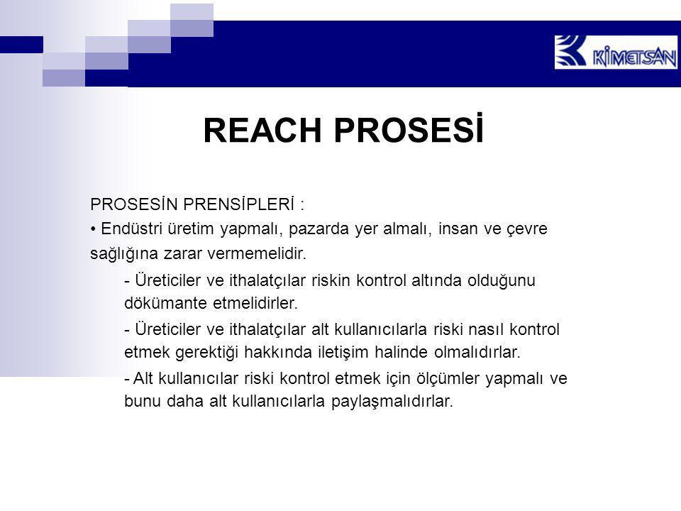 REACH PROSESİ PROSESİN PRENSİPLERİ :