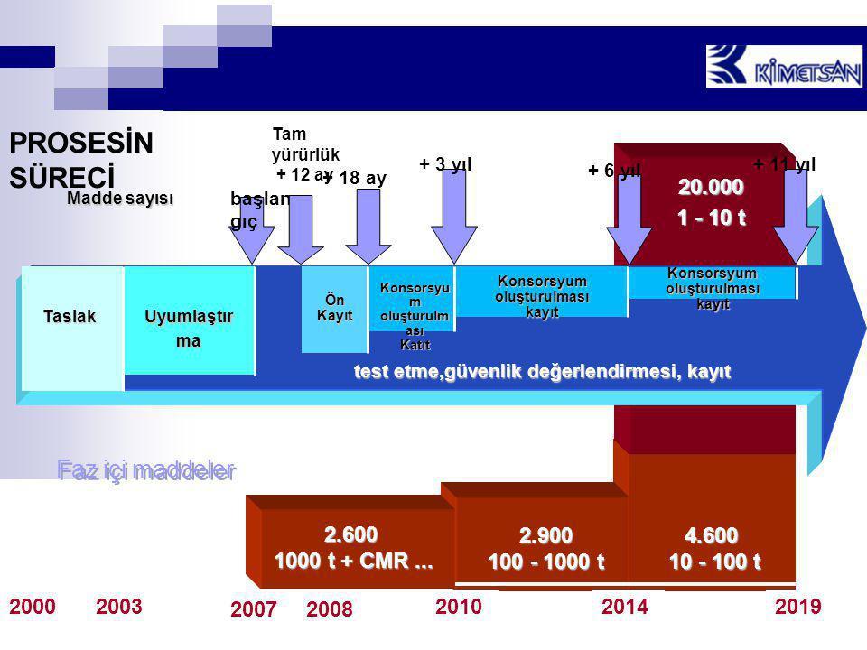 PROSESİN SÜRECİ Faz içi maddeler 20.000 1 - 10 t 4.600 10 - 100 t