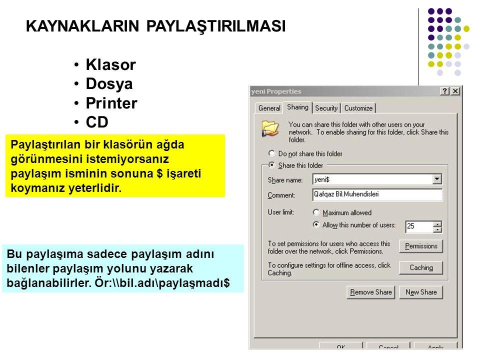 KAYNAKLARIN PAYLAŞTIRILMASI Klasor Dosya Printer CD