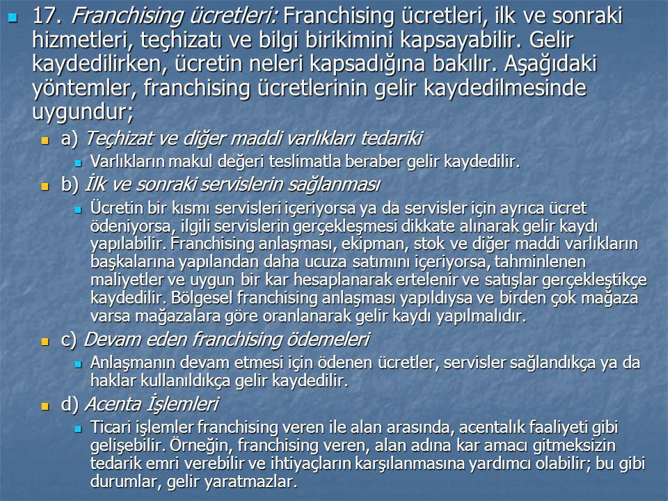17. Franchising ücretleri: Franchising ücretleri, ilk ve sonraki hizmetleri, teçhizatı ve bilgi birikimini kapsayabilir. Gelir kaydedilirken, ücretin neleri kapsadığına bakılır. Aşağıdaki yöntemler, franchising ücretlerinin gelir kaydedilmesinde uygundur;