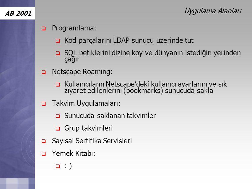 Uygulama Alanları Programlama: Kod parçalarını LDAP sunucu üzerinde tut. SQL betiklerini dizine koy ve dünyanın istediğin yerinden çağır.