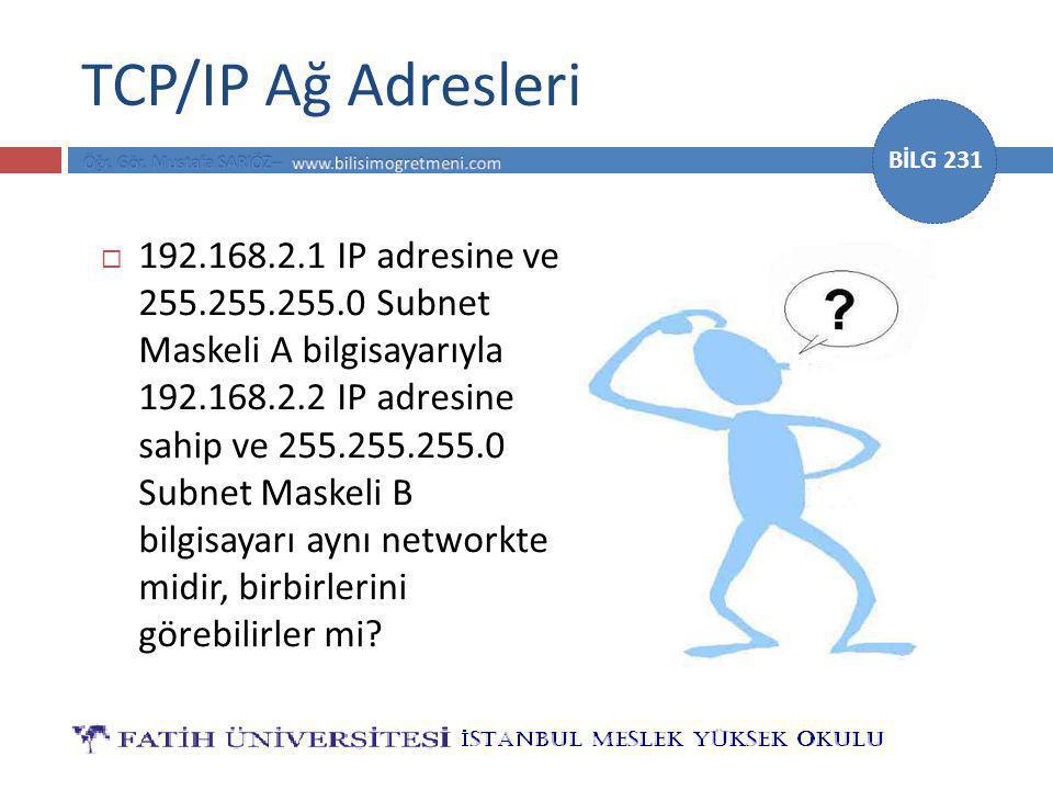 TCP/IP Ağ Adresleri