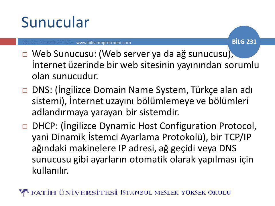 Sunucular Web Sunucusu: (Web server ya da ağ sunucusu), İnternet üzerinde bir web sitesinin yayınından sorumlu olan sunucudur.