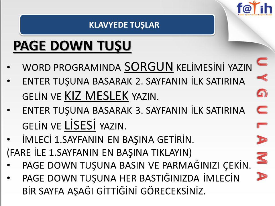 PAGE DOWN TUŞU U Y G U L A M A
