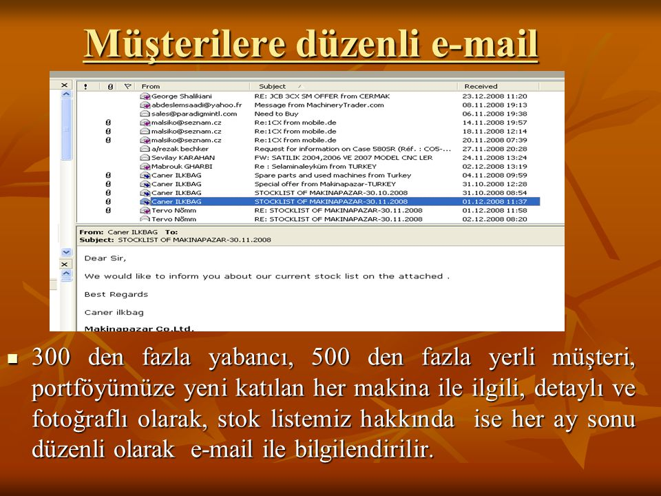 Müşterilere düzenli e-mail