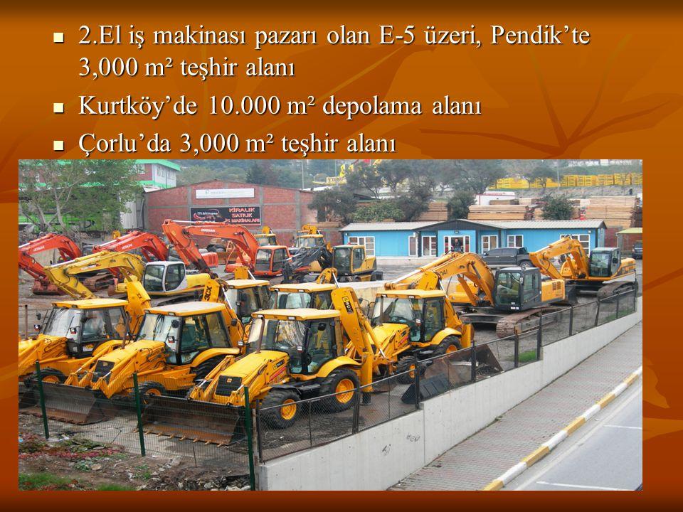 2.El iş makinası pazarı olan E-5 üzeri, Pendik'te 3,000 m² teşhir alanı
