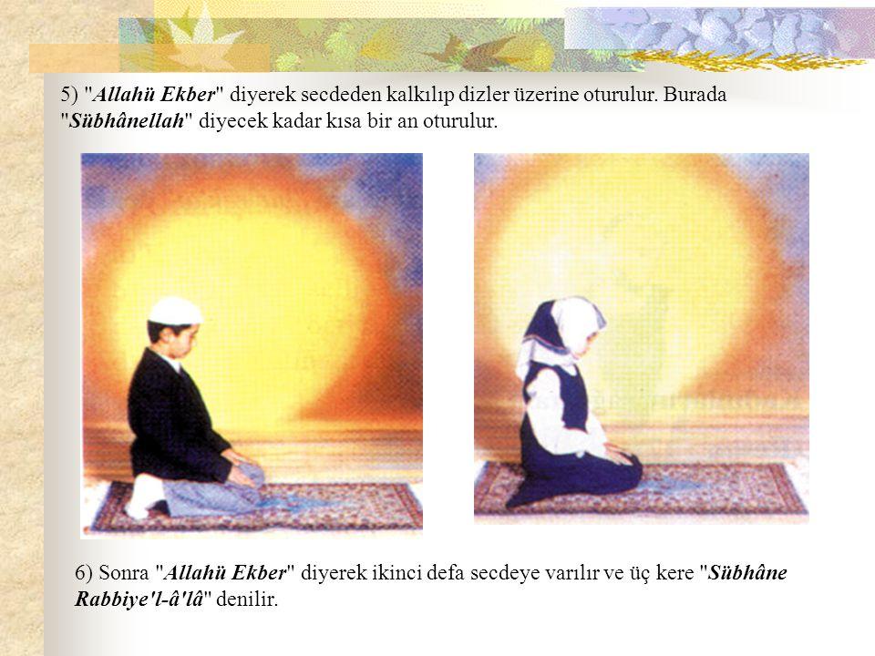 5) Allahü Ekber diyerek secdeden kalkılıp dizler üzerine oturulur