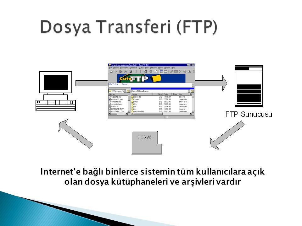 Dosya Transferi (FTP) Internet'e bağlı binlerce sistemin tüm kullanıcılara açık olan dosya kütüphaneleri ve arşivleri vardır.