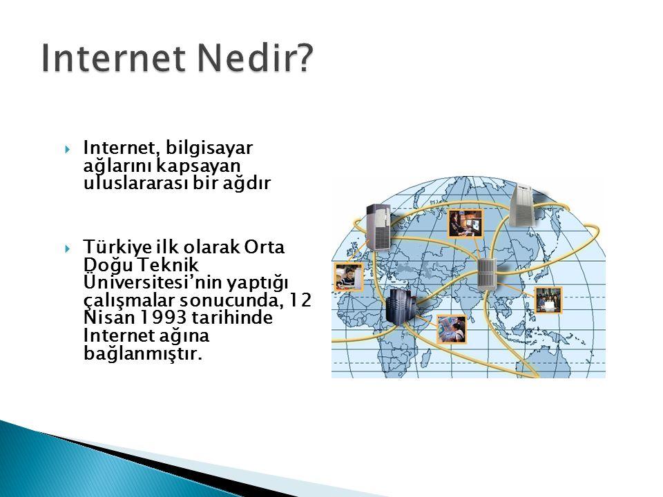 Internet Nedir Internet, bilgisayar ağlarını kapsayan uluslararası bir ağdır.
