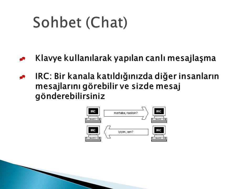 Sohbet (Chat) Klavye kullanılarak yapılan canlı mesajlaşma