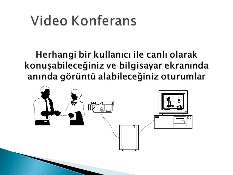 Video Konferans Herhangi bir kullanıcı ile canlı olarak konuşabileceğiniz ve bilgisayar ekranında anında görüntü alabileceğiniz oturumlar.