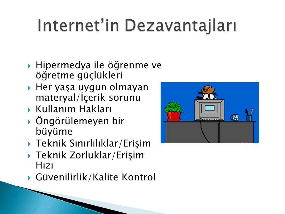 Internet'in Dezavantajları