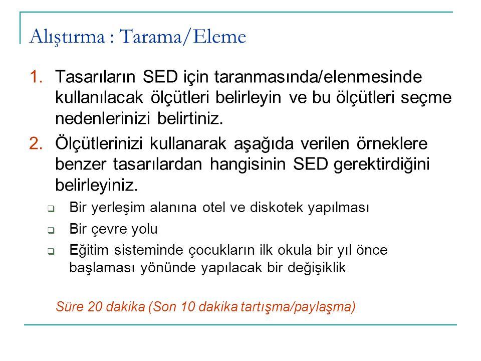 Alıştırma : Tarama/Eleme