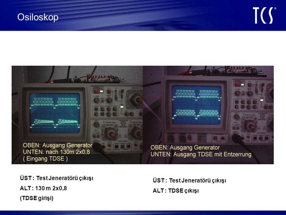 Osiloskop ÜST : Test Jeneratörü çıkışı ALT : 130 m 2x0,8