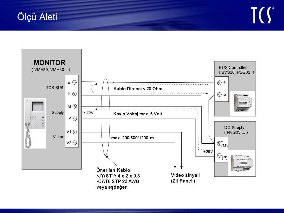 Ölçü Aleti Önerilen Kablo: JY(ST)Y 4 x 2 x 0.8 CAT6 STP 23 AWG