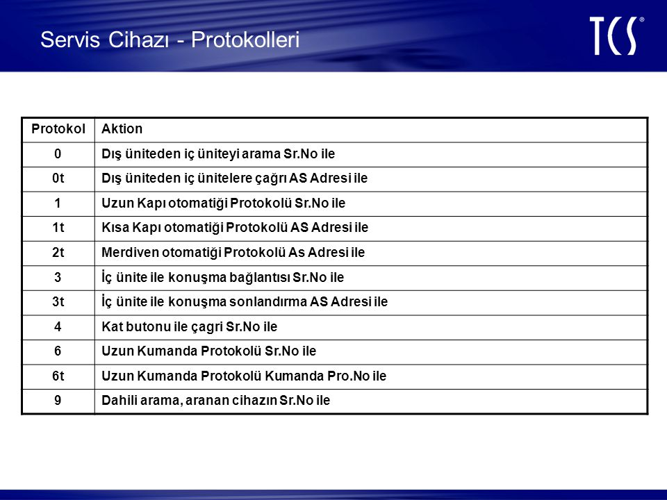 Servis Cihazı - Protokolleri