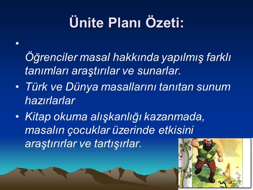 Ünite Planı Özeti: Öğrenciler masal hakkında yapılmış farklı tanımları araştırılar ve sunarlar. Türk ve Dünya masallarını tanıtan sunum hazırlarlar.