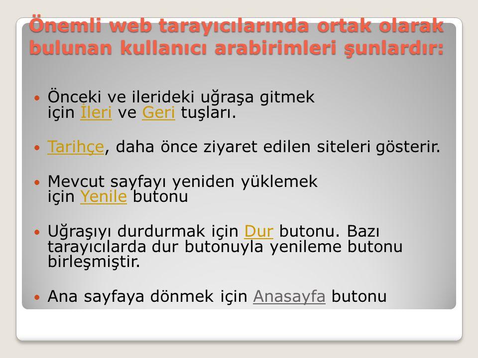 Önemli web tarayıcılarında ortak olarak bulunan kullanıcı arabirimleri şunlardır: