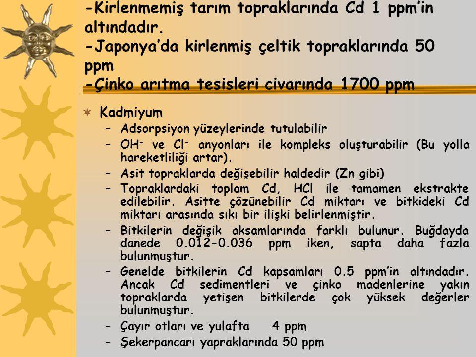 -Kirlenmemiş tarım topraklarında Cd 1 ppm'in altındadır