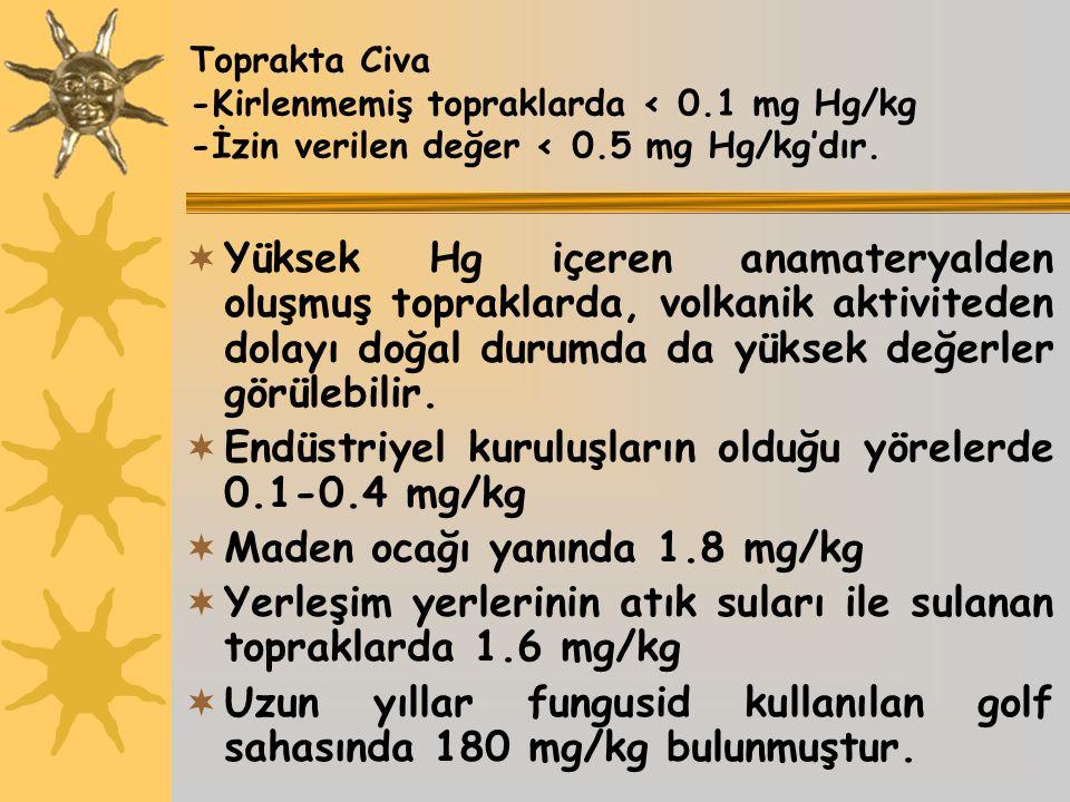 Endüstriyel kuruluşların olduğu yörelerde 0.1-0.4 mg/kg