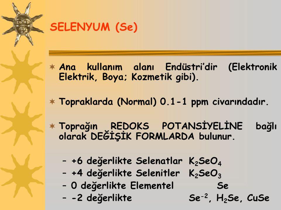 SELENYUM (Se) Ana kullanım alanı Endüstri'dir (Elektronik Elektrik, Boya; Kozmetik gibi). Topraklarda (Normal) 0.1-1 ppm civarındadır.