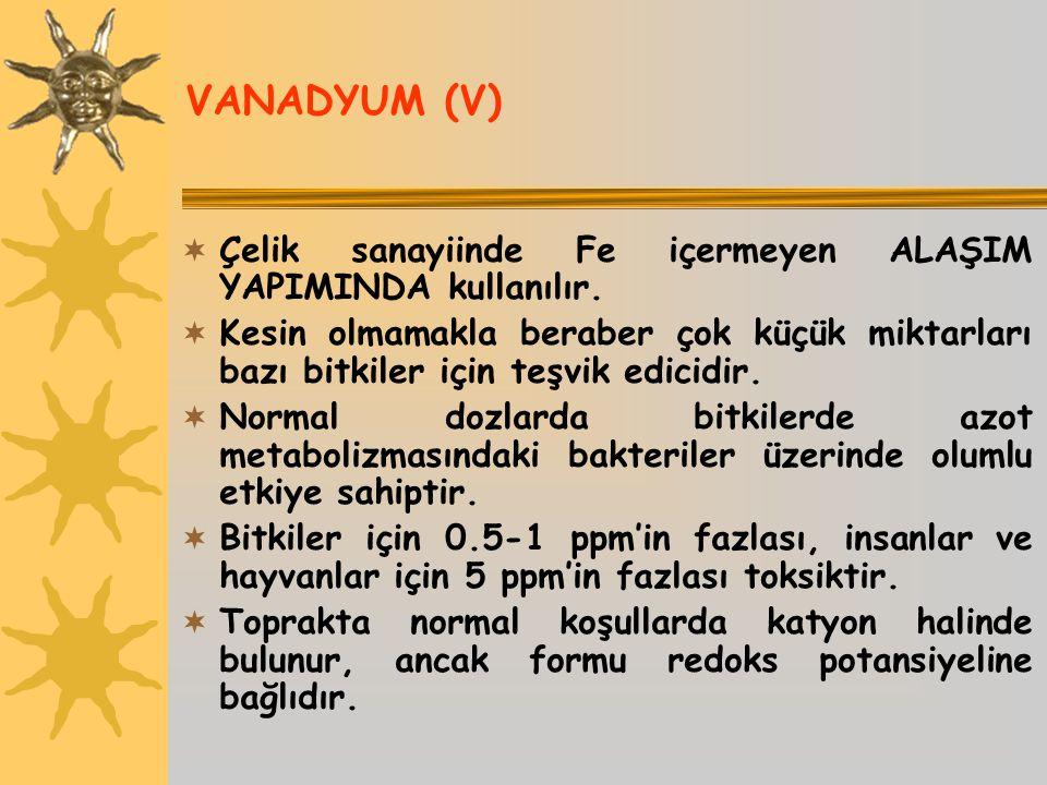 VANADYUM (V) Çelik sanayiinde Fe içermeyen ALAŞIM YAPIMINDA kullanılır.