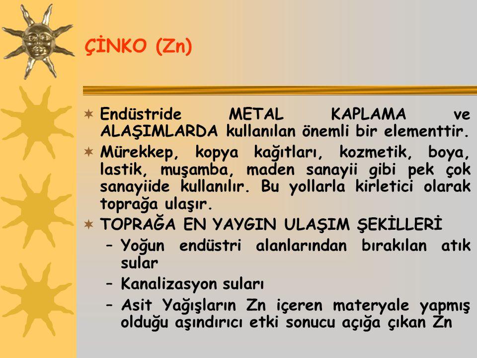 ÇİNKO (Zn) Endüstride METAL KAPLAMA ve ALAŞIMLARDA kullanılan önemli bir elementtir.